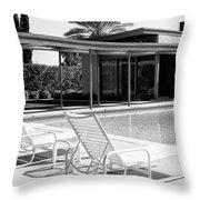 Sinatra Pool Bw Palm Springs Throw Pillow