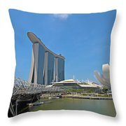 Singapore Artscience Museum Double Helix Bridge And Marina Bay  Throw Pillow