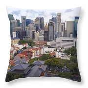 Singapore Central Business District Over Chinatown Area Throw Pillow
