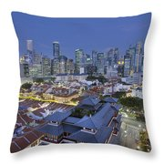 Singapore Central Business District Over Chinatown Blue Hour Throw Pillow