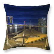 Singapore Central Business District Skyline At Dusk Throw Pillow