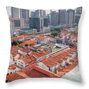 Singapore Chinatown With Modern Skyline Throw Pillow