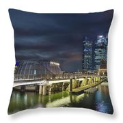 Singapore City By The Fullerton Pavilion At Night Throw Pillow