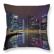 Singapore City Skyline Along Marina Bay Boardwalk At Night Throw Pillow
