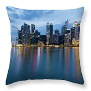Singapore City Skyline At Blue Hour Throw Pillow