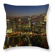 Singapore City Skyline At Dusk Throw Pillow