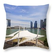 Singapore City Skyline From The Esplanade Throw Pillow