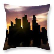 Singapore City Sunset Skyline  Throw Pillow