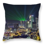 Singapore Cityscape At Night Throw Pillow