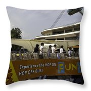 Singapore Flyer Along With The Sight-seeing Bus That Takes Tourists Around The City Throw Pillow