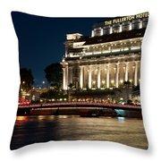 Singapore Fullerton Hotel At Night 02 Throw Pillow