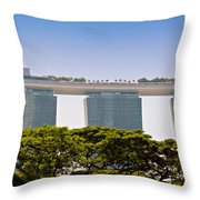 Singapore Marina Bay Sands And Skypark Throw Pillow