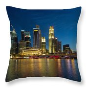 Singapore River Waterfront Skyline At Blue Hour Throw Pillow