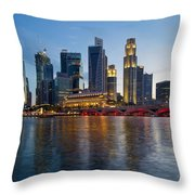 Singapore River Waterfront Skyline At Sunset Throw Pillow