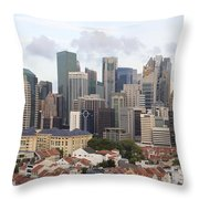 Singapore Skyline Along Chinatown Area Throw Pillow