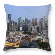 Singapore Skyline Along Chinatown Evening Throw Pillow