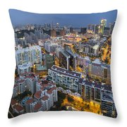 Singapore Skyline Along Singapore River Throw Pillow
