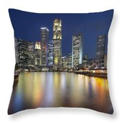 Singapore Skyline By Boat Quay Vertical Throw Pillow