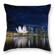 Singapore Skyline By River Waterfront At Dusk Throw Pillow