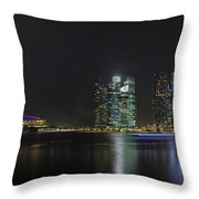 Singapore Skyline With Laser Light Show Throw Pillow