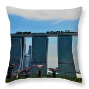Singapore Skyline With Marina Bay Sands And Gardens By The Bay Supertrees Throw Pillow