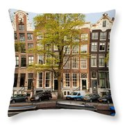 Singel Canal Houses In Amsterdam Throw Pillow