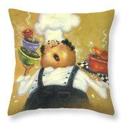 Singing Chef In Gold Throw Pillow