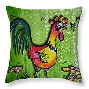 Singing Chicken  Throw Pillow