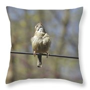 Singing His Heart Out - Carolina Wren - Thryothorus Ludovicianus Throw Pillow