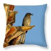 Singing Mockingbird Throw Pillow