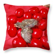 Singing Over Red Eggs Throw Pillow