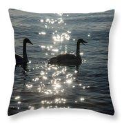 Singing Trumpeter Swans Duet  Throw Pillow