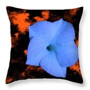 Single Blue Cactus Flower Throw Pillow