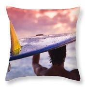 Single Fin Surfer Throw Pillow