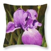 Single Iris Throw Pillow