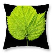 Single Leaf From Raspberry Bush Throw Pillow