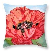 Single Oriential Poppy Throw Pillow