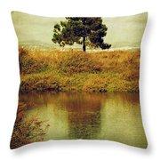 Single Pine Tree Throw Pillow by Carlos Caetano