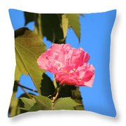 Single Pink Flower Throw Pillow
