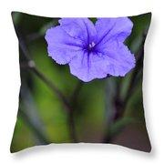 Single Purple Mexican Petunia Ruellia Brittoniana Throw Pillow