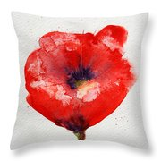 Single Red Anemone Throw Pillow