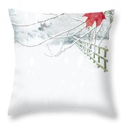 Single Red Leaf Throw Pillow