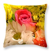 Single Rose Bouquet Throw Pillow