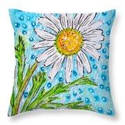 Single Summer Daisy Throw Pillow