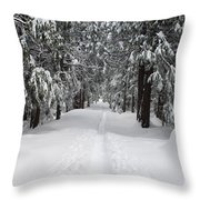 Single Track Cross Country Skiing Trail Yosemite National Park Throw Pillow