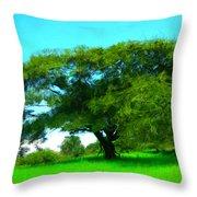 Single Tree In Spring Throw Pillow