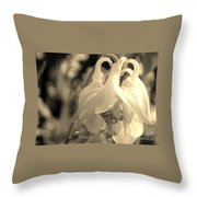 Single White Columbine Monochrome Throw Pillow