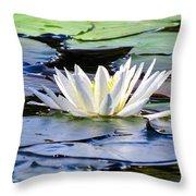 Single White Lotus Throw Pillow