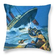 Sinking Of The Titanic Throw Pillow