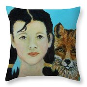 Sinopa Little Fox Throw Pillow by The Art With A Heart By Charlotte Phillips